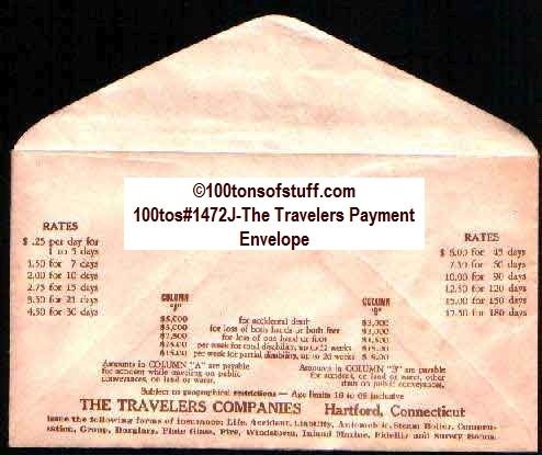 100tos#1472J-The Travelers Payment Envelope -- Back
