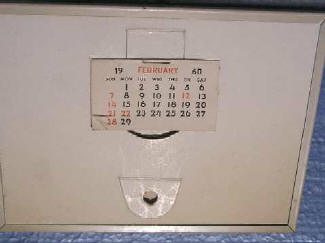 Back of #1485 Amoco 2d Calendar cutout typpe metal frame 1960