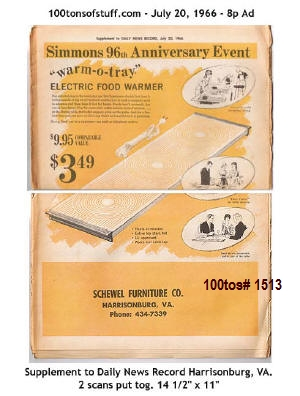 AD: #1513 SIMMONS 96TH ANNIVERSARY EVENT July 20, 1966