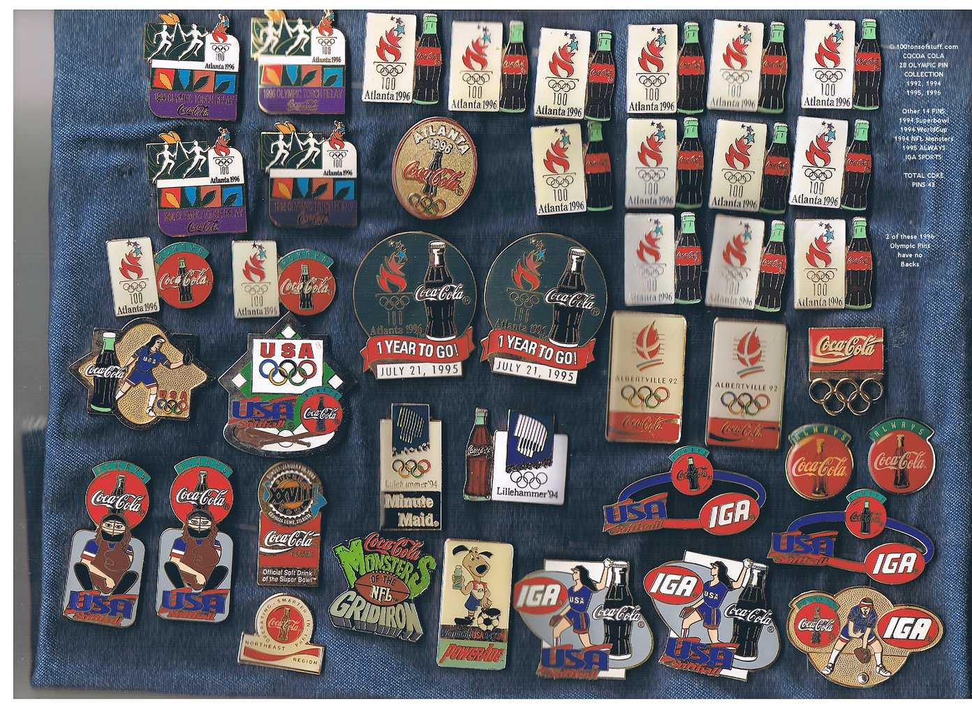 42 Olympic and Coca-Cola Pins buy now $625.00