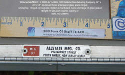 100tonsofstuff #3401: Nameplate: Allstate MFG Glass & Aluminum Display case piano hinges.