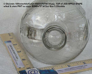 top jug opening of 100tos0058 Clear Glass figural Apple jug vintage view 5