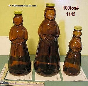 Old Aunt Jemima or Mrs. Butterworths glass bottles - Front