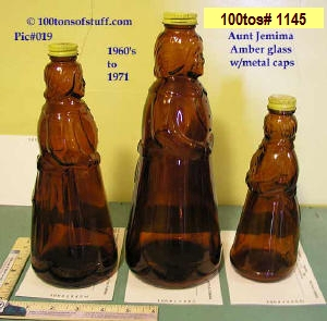 Side view of old Aunt Jemima glass bottles