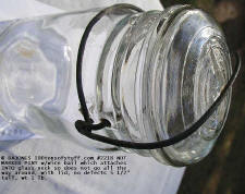 "wire bail is into glass neck of #2218 PINT - NO MARKS 5 1/2"" TALL, WT 1 LB, wire bail & glass lid"