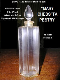 #1400 Perfume Bottle Mary Chess w/Stopper