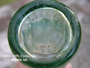 Base embossed Urbanna VA on 1415 Coca Cola bottle from Urbanna, VA