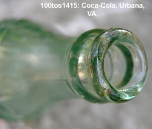 neck and top of 1415 Coca Cola bottle from Urbanna, VA