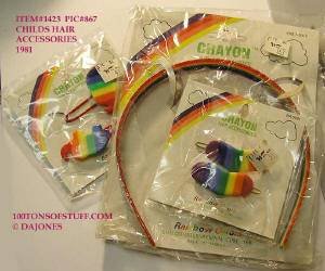 100tos1423: CRAYON child's hair accessories carded 1981 3 pc set