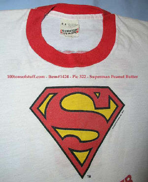 100tos1424: 1981 logo on front of Superman Peanut Butter childs T-Shirt