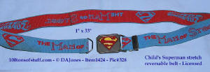 100tos1424:1981 Superman red and blue elastic belt w/enamel buckle