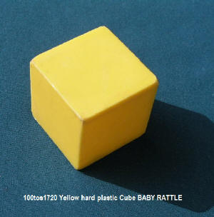 100tos1720 Plastic Yellow Cube Rattle or toy for baby.