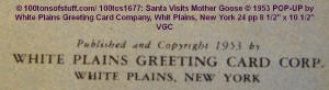 "Copyright for 100tos1677: PopUp ""Santa Visits Mother Goose"" 1953"