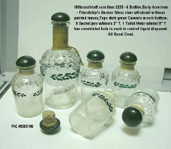 Item2235-Friendship's Garden 6 bottle set hobnail glass ceramic tops w-cork bottoms.
