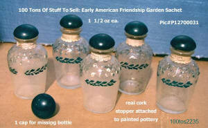 100tos2235: 5 small Friendship Garden hobnail bottles