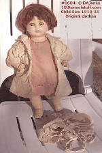 1604-A - Doll - Composition & Cloth 1910 Orig clothes