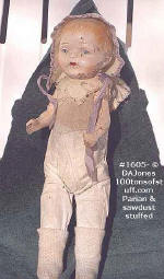 1605 - very old Parian doll with cloth stuffed with sawdust