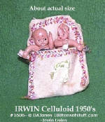 1606 Irwin 2 celluloid babies in a pink blanket tiny