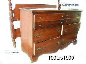 100tos#1509 Cherry solid wood bedroom double dresser shown also has full mirror which attaches to top. Dresser has 6 drawers.