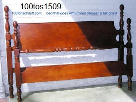 100tos#1509 Double bed header & footer circa 1950's or 1960's cherry solid wood set part of 3 pieces.