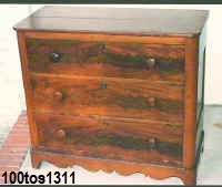 100tos1311 Chest of drawers w/bead detail, wavy bottom skirt & wood knobs.