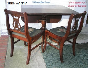 100tos#1317 1947-49 Duncan Fife Drop leaf table & 2 of 4 harp back chairs