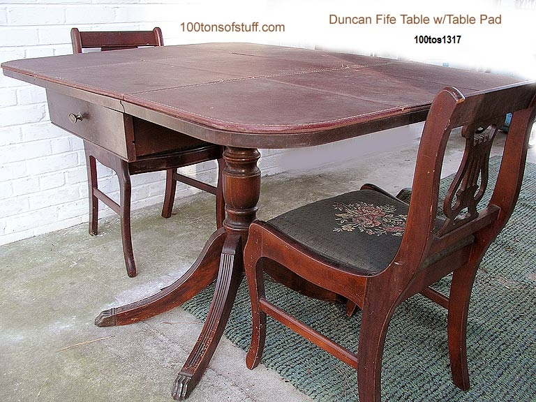 Open Duncan Fife Table W Pad 2 Chairs