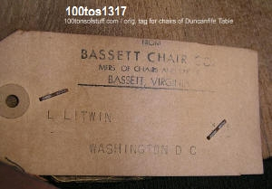 100tos#1317 Bassett Chair paper tag on chairs that go with the Duncan Fyfe style drop leaf table circa 1950's.