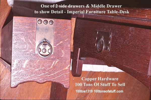 #1319 Drawer fronts Imperial Table Desk showing Copper Hardware & curved bottoms