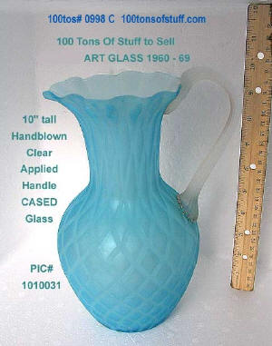 "Item 0988C - Blue or Aqua Diamond Overlay Cased Satin Glass Pitcher with Clear ribbed applied handle 10"" tall"