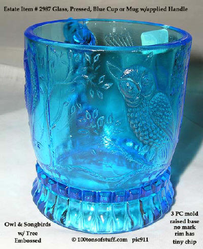 100tos#2987 Blue glass embossed cup or mug songbird & owl