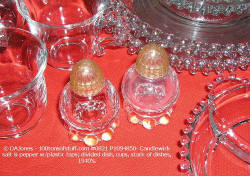 #0821 Candlewick - close-up of salt & pepper shakers w/plastic lids, & divided dish, 1940's.