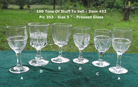 "5 Pressed glass 5"" tall Cordials, Wines, or Goblets of various patterns: ""D"" is Sold; $45.00 ea"