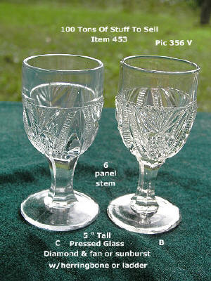 "#453 C and B Pressed Glass 5"" tall wines or cordial"