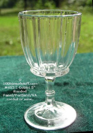 #453 E Goblet 5 inches banded panel or Portland or VA State.