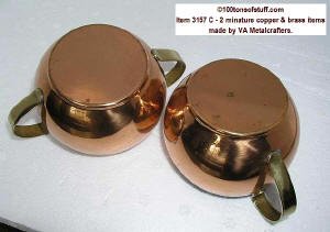 bottoms of 100tos#3157 B brass copper or tin miniature creamer & sugar