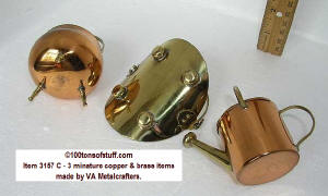 Bottoms of 100tos#3157 C - 3 minature brass & copper items by VA Metalcrafters