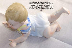 Item 3008 Bisque Piano Baby Boy hand painted crawling 1970s view 1