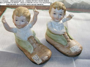 "Item 3009 A Pair ""Babies in Boots"" bisque hand painted boys in shoes circa 1970s"