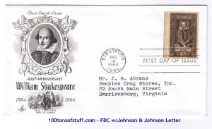 100tos#1515:FDC 8/14/1964 Shakespeare - stamp# 1250