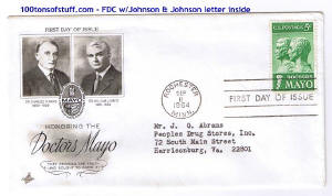 100tos#1516: FDC 9/11/1964 Dr's Mayo - Charles & William, Stamp# 1251