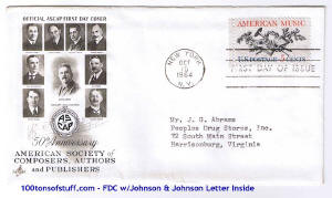 100tos#1517: FDC 10/15/1964 Official ASCAP honors 50th Anniv., Stamp#1252