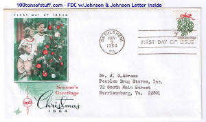 100tos#1518: FDC 11/9/1964 Christmas mailed from bethlehem, PA, USPS Stamp#1255 Mistletoe.