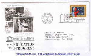 100tos#1519: 12/7/1964 FDC issued by United Nations - UNESCO - Education for Progress, stamp not in USPS list