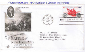 100tos#1520: FDC 1/8/1965 Battle of New Orleans 150th anniv, Stamp#1261