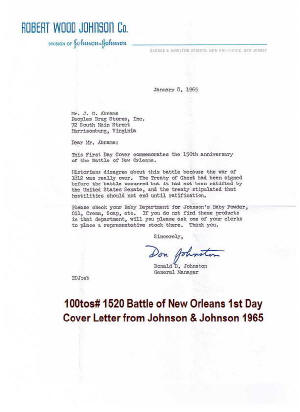 Letter for 100tos#1520: FDC 1/8/1965 Battle of New Orleans 150th anniv, Stamp#1261