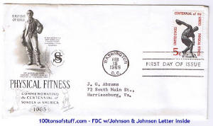 100tos#1521: FDC 2/15/1965 Centennial of Physical Fitness - Sokolos in America, stamp#1262