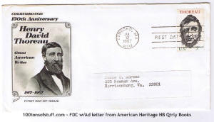 100tos#1524: FDC 7/12/1967 - 150th Anniv of Henry David Thoreau, stamp#1327