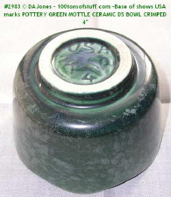 "Base of #2983 Green glazed pottery dish or flowerpot 4"" marked USA"