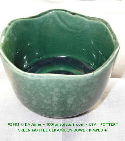 #2983 Green glazed pottery dish or flowerpot 4""